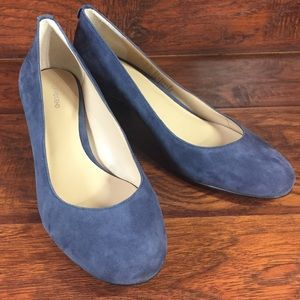 Lands End Blue Suede Leather Shoes Womens 7.5